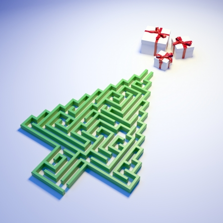 Christmas Tree shaped maze leading to gifts Stock Photo