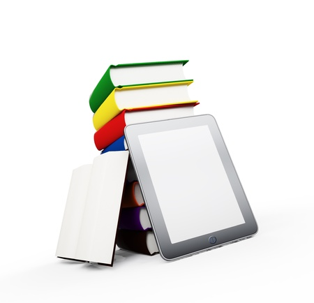 A tablet with books - ebook publication