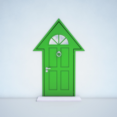 front entry: Entrance door shaped like a house Stock Photo