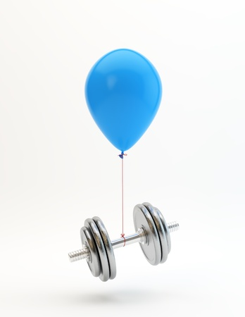 Blue balloon lifting a heavy dumbbell photo