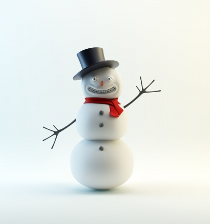 A waving, smiling snowman  with a red scarf Stock Photo