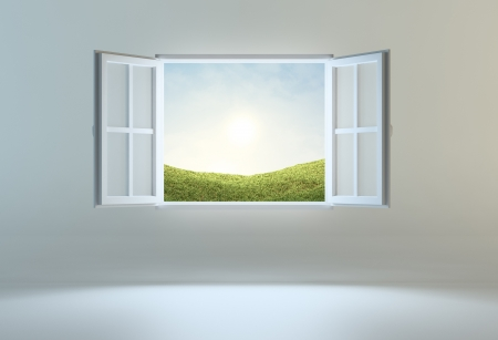 view window: Open window leading to another place