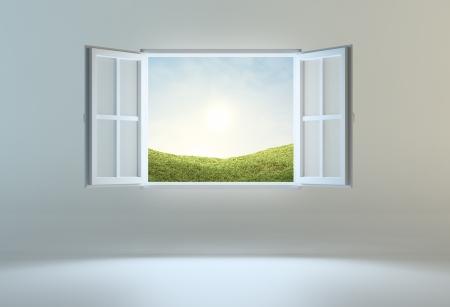 ventana abierta interior: Ventana abierta que lleva a otro lugar Foto de archivo