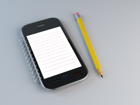 Smartphone shaped notepad with a pencil Stock Photo
