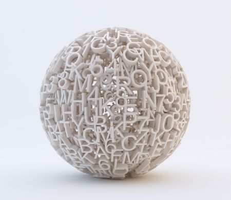 Random letters and numbers forming a sphere Standard-Bild