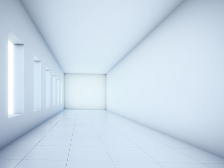 Empty white corridor Stock Photo