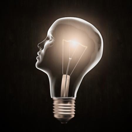 Head shaped light bulb - creativity concept Stok Fotoğraf