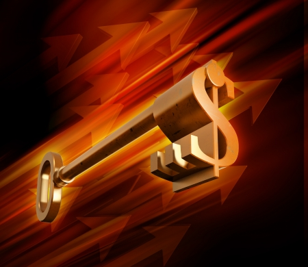 Dollar sign shaped key on a dynamic background - key to success concept