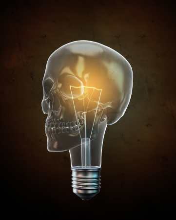 Glowing skull shaped bulb background illustration. illustration