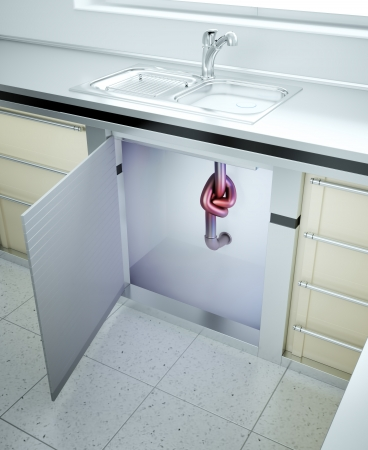 sink drain: Clogged sink - drain pipe with a knot Stock Photo