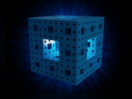 red cube: The Menger sponge 3d fractal shape - technology concept background illustration