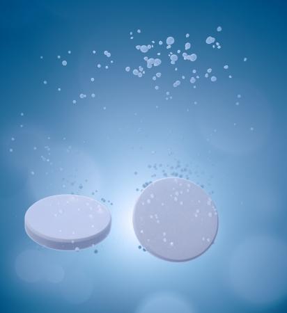 Fizzy tablets dissolving in water