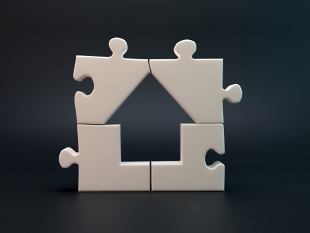 safe house: House jigsaw puzzle build of four pieces