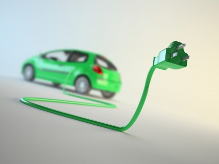 An electric car connected to a plug - EV transport concept photo