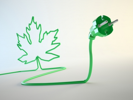 electric green: Electric plug with a leaf shaped cord green energy concept