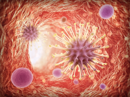microscopisch: Virussen binnen een bloedvat - 3d gezondheidszorg concept illustratie Stockfoto