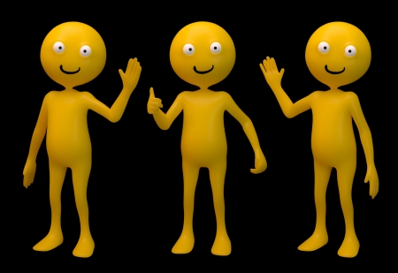 Three smiley 3d characters isolated on black Stock Photo - 14809618