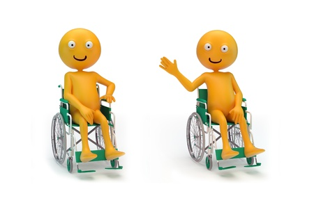 paralysis: Three smiley characters on a wheelchair