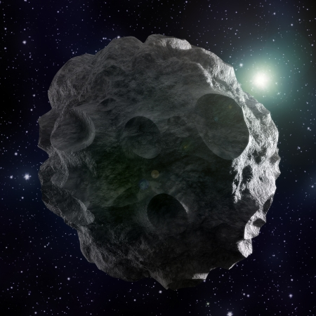 A high resolution image of an asteroid covered with craters photo