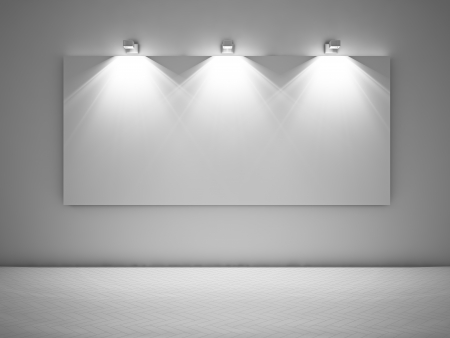 Large empty picture lit by three spotlights photo