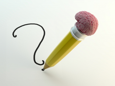writing instrument: Pencil with a brain shaped eraser writing a question mark
