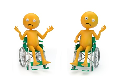 Two sad Smiley characters on a wheelchair