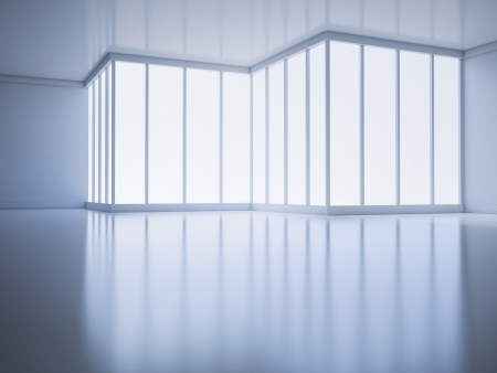 An empty room with a large window - architecture abstract