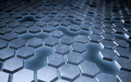 Abstract hexagonal metallic plates background