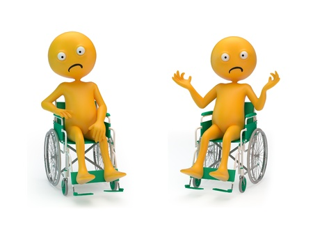 paraplegico: Dos personajes tristes Smiley en una silla de ruedas