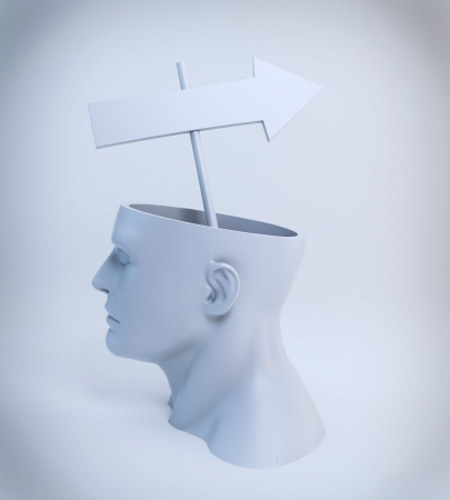 Strategy or a way of thinking concept - an arrow sign comming out of an open head Stock Photo - 14809724