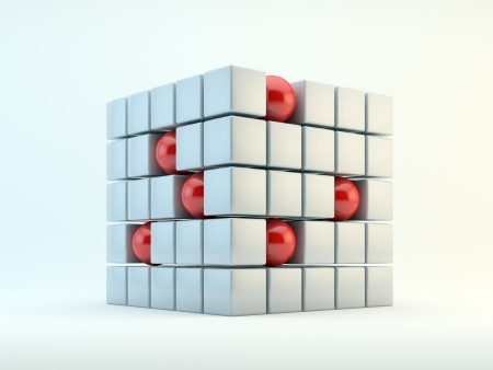 3D red spheres and pearly cubes abstract photo