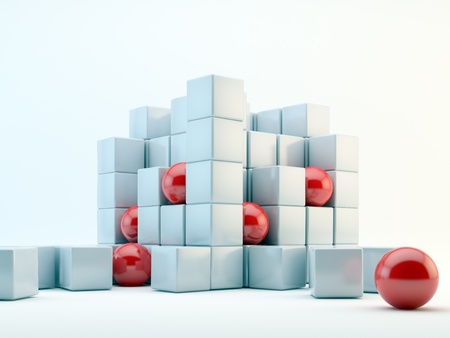 3D red spheres and pearly cubes abstract Stock Photo