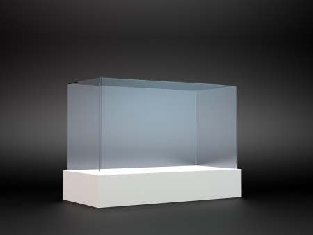 An empty glass display on a white stand photo