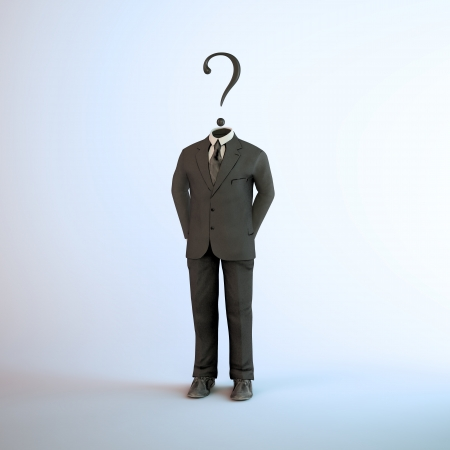 hidden danger: A headless figure in a suit with a question mark - anonymous activist group symbol