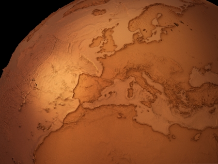 oceans: Copper Earth globe with land and oceans height map