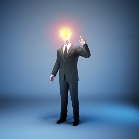 A businessman in a suit with a lightbulb head - innovation in business concept Stock Photo - 14809925