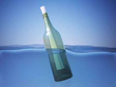 castaway: A bottle with a message floating in water Stock Photo