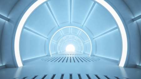 future vision: Science fiction interior rendering - sci-fi corridor Stock Photo