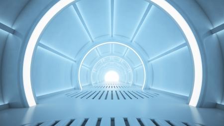 Science fiction interior rendering - sci-fi corridor Standard-Bild
