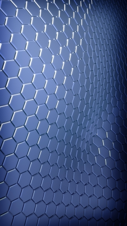 Abstract hexagonal metallic plates background