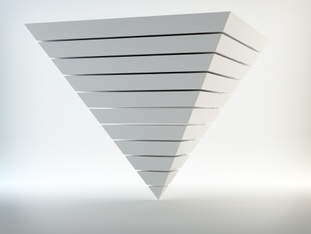 futuristic interior: Pearly abstract 3d pyramid