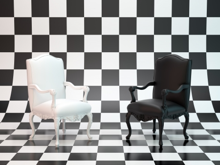 Black and white antique chairs on a checkerboard backdrop