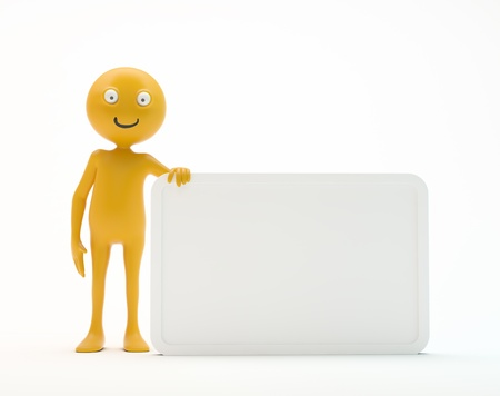 Smiley 3d character holding an empty sign Stock Photo - 14809622