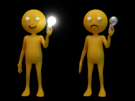 3D character smiley holding a light bulb Stock Photo - 15000310