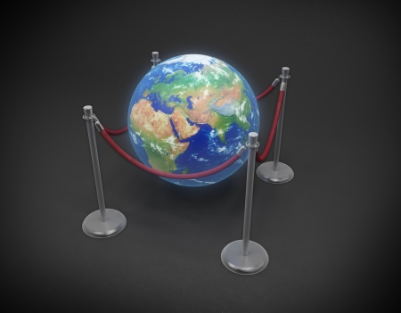 international recycle symbol: Earth Day concept - Earth globe surrounded by rope stanchions