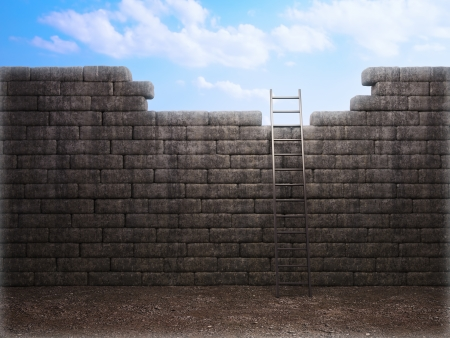 Ladder leading to a better place - freedom and opportunity concept