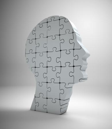 A male head build out of puzzle pieces Standard-Bild