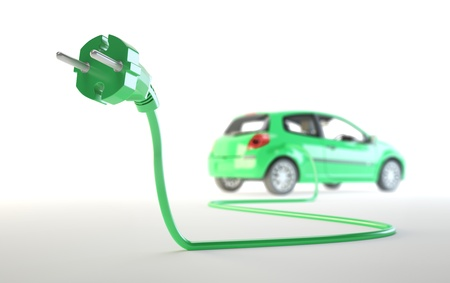 ecologically: Electric car being plugged - EV transport concept