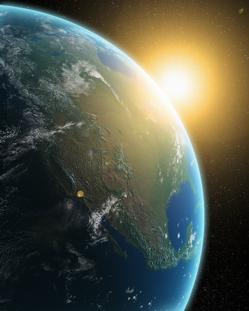 View of the Earth from outer space - sunrise over North America Stock Photo