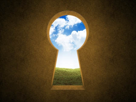 Landscape seen through a keyhole  Stock Photo - 14983899